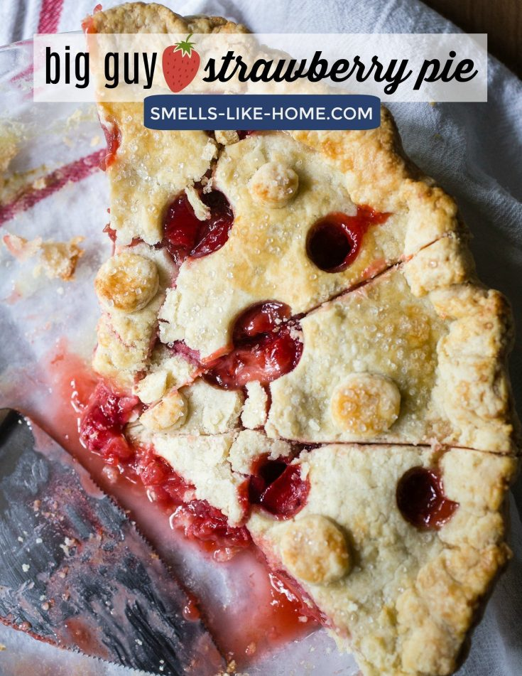 Big Guy Homemade Strawberry Pie: Fresh strawberries and berry jam both help to boost the flavor way up there in this pie! Easy enough for the beginner pie and homemade dough maker, you won't find a better use for your summer strawberries than this pie right here! #strawberry #pie #strawberrypie #homemadestrawberrypie #strawberrypiehomeadedough #homemadedough #summer #strawberries