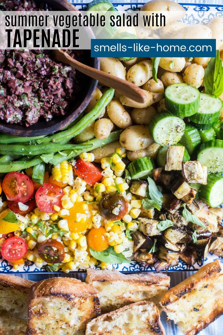 Summer Vegetable Salad with Tapenade: I'm willing to bet you've never seen a combo of 6 vegetables turn into such an amazing meal before. The olive tapenade may seem a little out of place but it adds this salty and briny pop of flavor to the meal and blends so so well with the fresh flavor of the veggies. #summer #salad #tapenade #olives #veggies #freshveggies #corn #tomato #cucumber #potatoes #melissaclark #dinnercookbook #nyt #newyorktimes #nytfood #vegetarian #vegan #meatless #glutenfree #gf