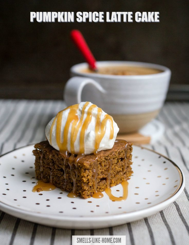 Pumpkin Spice Latte Cake: A rich and warmly spiced pumpkin snack cake with a punch of espresso that's not too sweet or overly saturated with pumpkin spice flavor. #pumpkinspicecake #pumpkinsnackcake #pumpkincake #psl #pumpkindessert