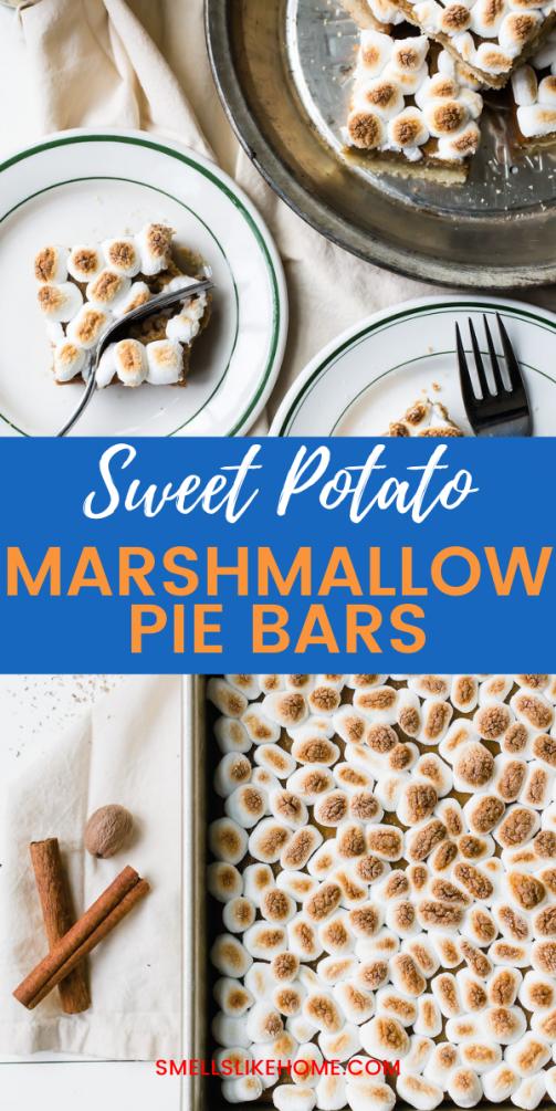 Pinnable image of sweet potato marshmallow pie bars.