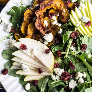 Roasted Acorn Squash Pear and Kale Salad