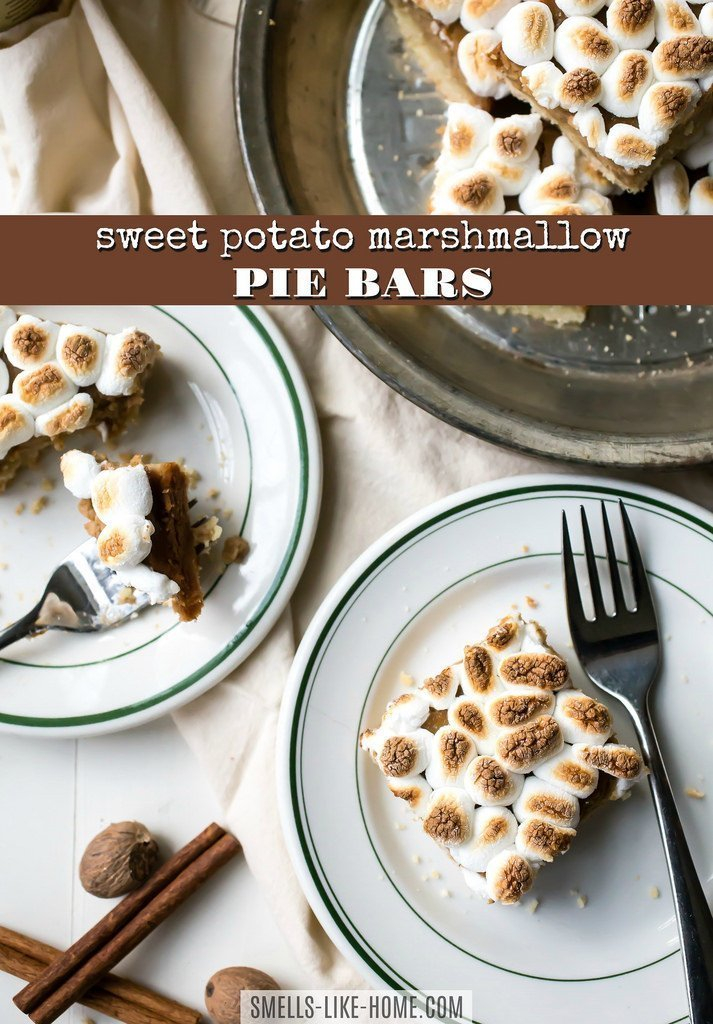 Sweet Potato Marshmallow Pie Bars: These bars are a DELICIOUS alternative to regular pie! With a pie crust pressed into a baking pan, a cozy sweet potato filling, and toasted marshmallows, these bars are everything a fall and/or Thanksgiving dessert should be: easy AND insanely great! #sweetpotato #pie #bars #marshmallow #toasted #thanksgiving #fall #cozy #spiced #yams #canned #holiday