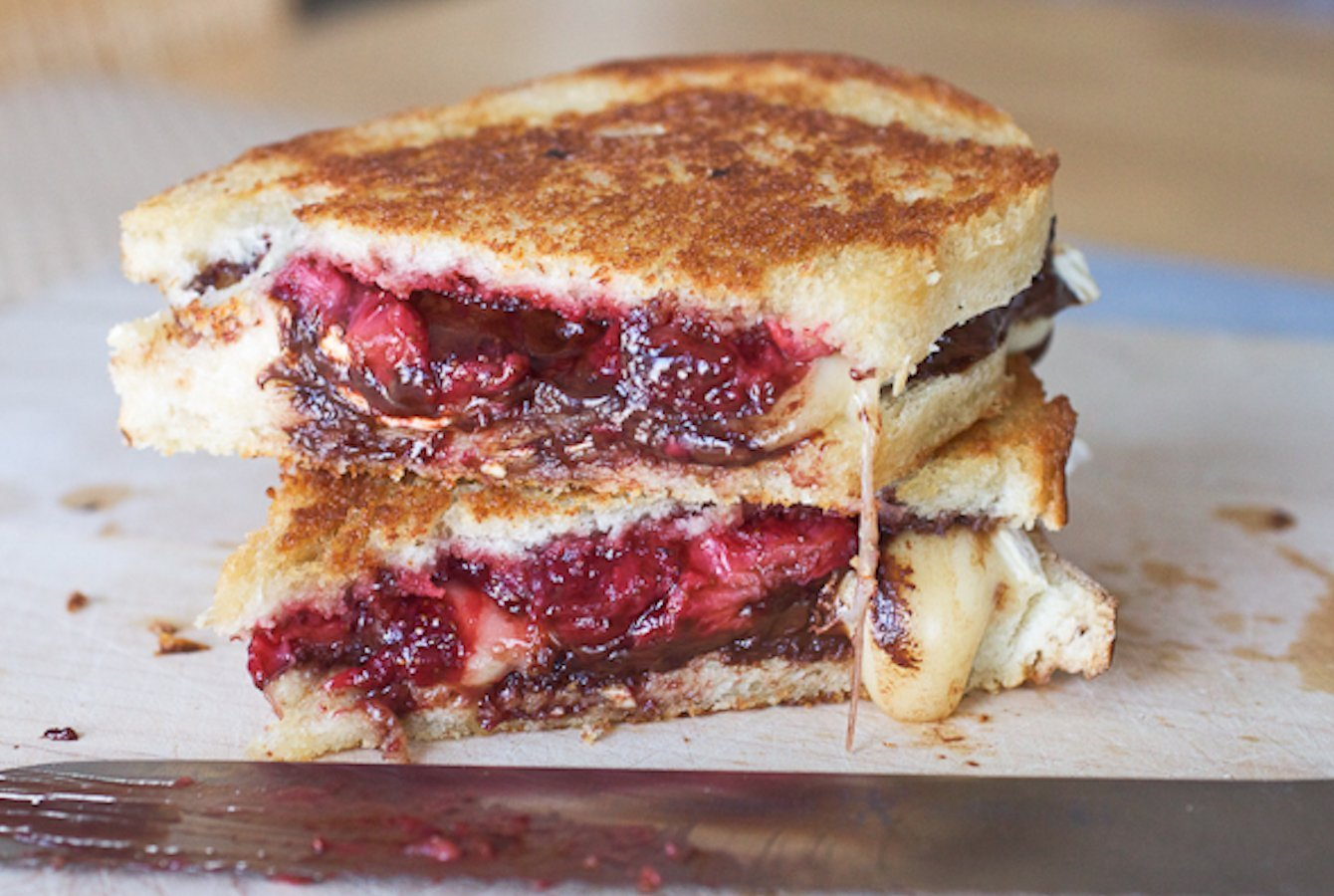 Roasted Strawberry, Dark Chocolate, and Brie Grilled Cheese Sandwich