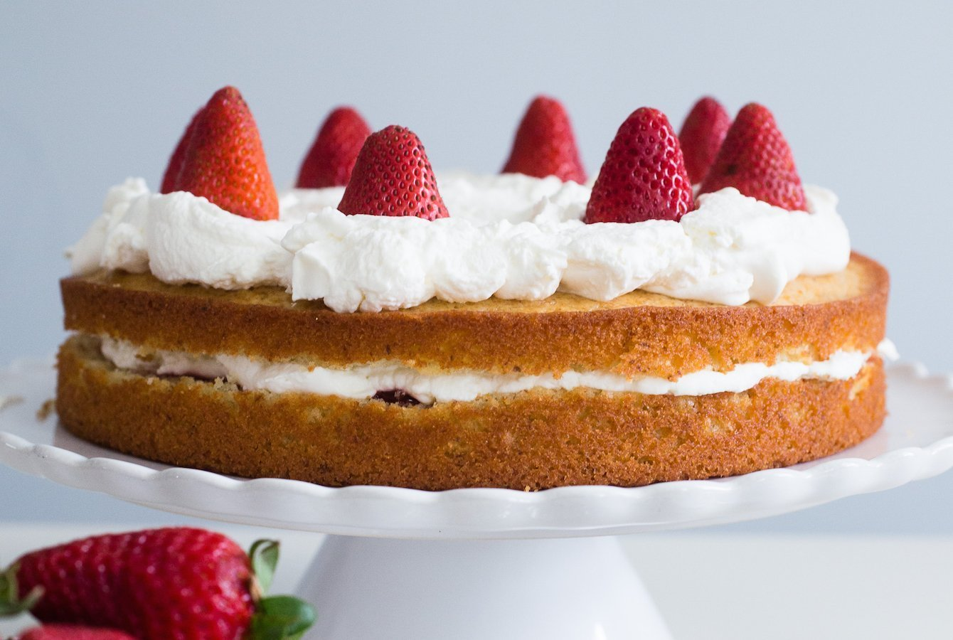 French Lemon Strawberry Jam Yogurt Cake