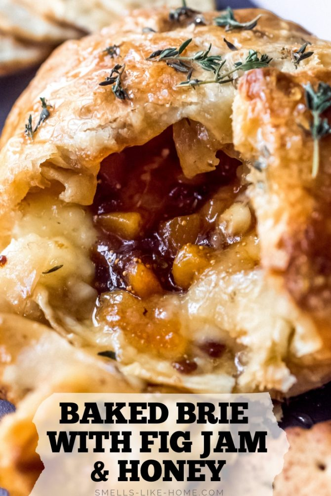 Baked Brie with Fig Jam and Honey
