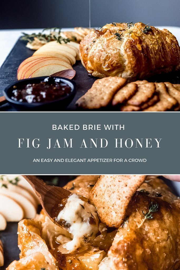 Baked Brie with Fig Jam and Honey: An incredibly easy baked brie appetizer wrapped in puff pastry and filled with figs, apricots, thyme then drizzled with honey. #appetizer #thanksgiving #bakedbrie #brie #puffpastry