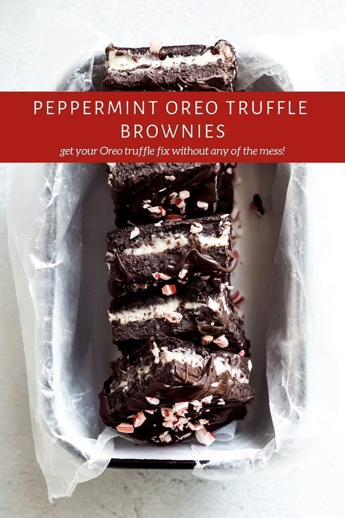 Peppermint Oreo Truffle Brownies- Decadent layers of rich brownie, white chocolate ganache, peppermint Oreo truffles, MORE chocolate, and crushed candy canes! All without the mess of making Oreo truffles! #peppermint #oreo #truffle #brownies #chocolate #mint #minty #valentinesday #vday #decadent #homemade #winter #dessert #recipe #christmas