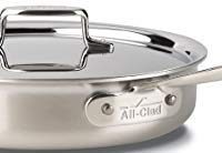 All-Clad D5 Brushed 3 Quart Saute Pan with Lid Stainless Steel Skillet