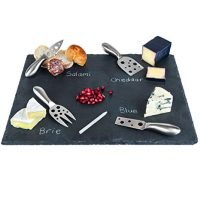 "Large Slate Cheese Board and Stainless Steel Cutlery Set 12"" x 16"" - Includes 4 Knives plus a Soap Stone Chalk, Perfect Cheese Platter Slate Board, Wine and Cheese Serving Board Wisconsin Brie Swiss"