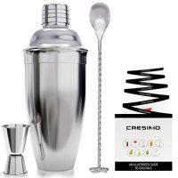 24 Ounce Cocktail Shaker Bar Set with Accessories - Martini Kit with Measuring Jigger and Mixing Spoon plus Drink Recipes Booklet - Professional Stainless Steel Bar Tools - Built-in Bartender Strainer