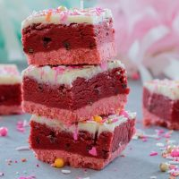 Red Velvet Cookie Dough Bars