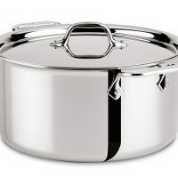 All-Clad 8-quart Stainless Steel Tri-Ply Bonded Dishwasher Safe Stockpot with Lid/Cookware, Silver