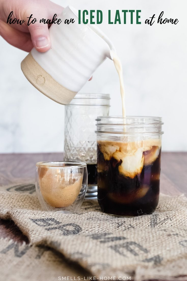 Let's make iced lattes at home! Use any flavor sweetener, milk, or boldness of espresso you choose and save yourself a ton of money in the process. #icelatte #howtomake #homemade #coffeesyrup #sweetener #copycat #starbucks #