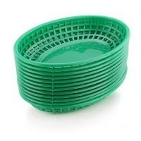 New Star Foodservice 44126 Fast Food Baskets, 9.25 x 6 inch Oval, Set of 12, Green