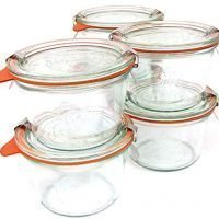 Weck .25 Liter Mold Jars - 6 In A Set, With Lids, 6 Rings and 12 Clamps