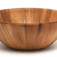 Acacia Round Flair Serving Bowl for Fruits or Salads, Large, 12-inch diameter x 4.5-inches high