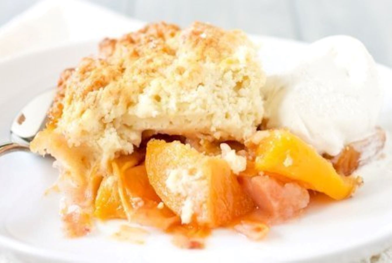 Peach Cobbler Recipe with Sugared Biscuit Topping
