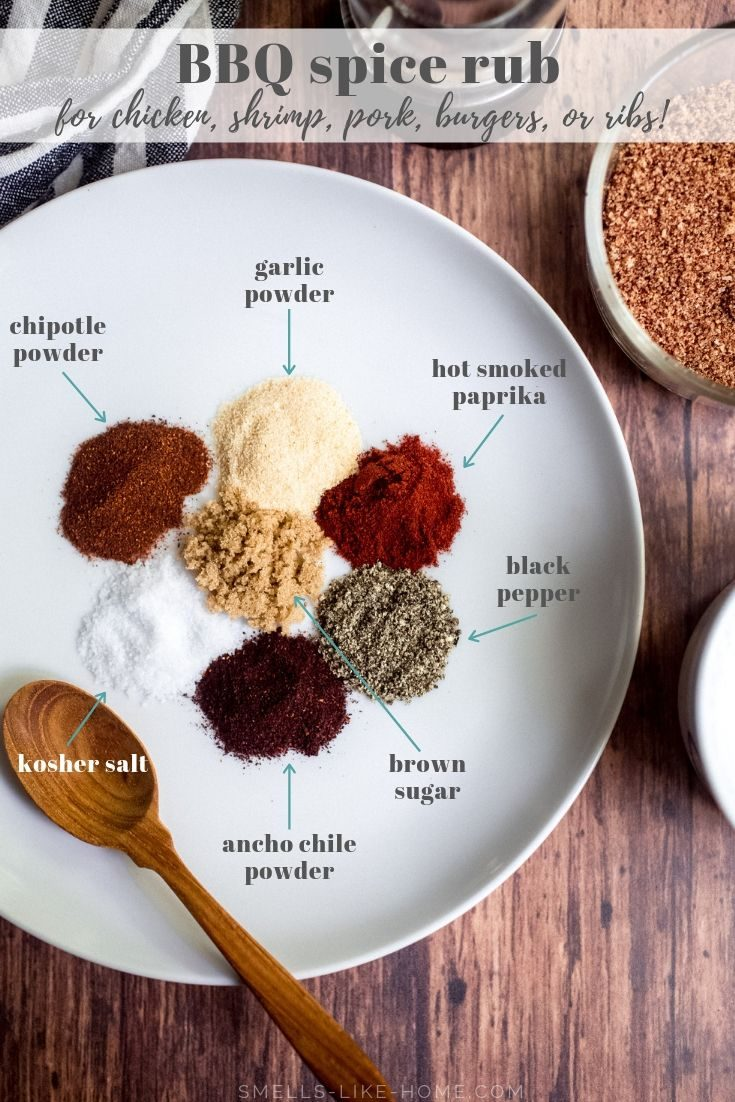 BBQ Spice Rub: Perfect for chicken, shrimp, beef, burgers, and veggies, this 5 ingredient mix is dead simple to make and keeps for up to 6 months! #bbqspice #spicerub #spicemix #bbqspicerub #chicken #pork #shrimp #beef #ribs #summer #grilling #recipe
