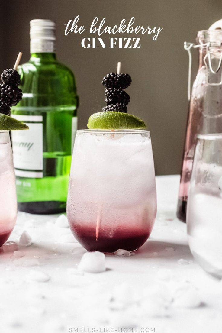 Blackberry Gin Fizz: The perfect summer cocktail for parties or quiet weekends at home alike, this is an easy summer cocktail made with blackberry syrup, dry gin, sparkling lemon water, and a spritz of lime juice to finish. No egg whites in this gin fizz! #ginfizz #blackberryginfizz #summercocktail #easy #sparklingwater
