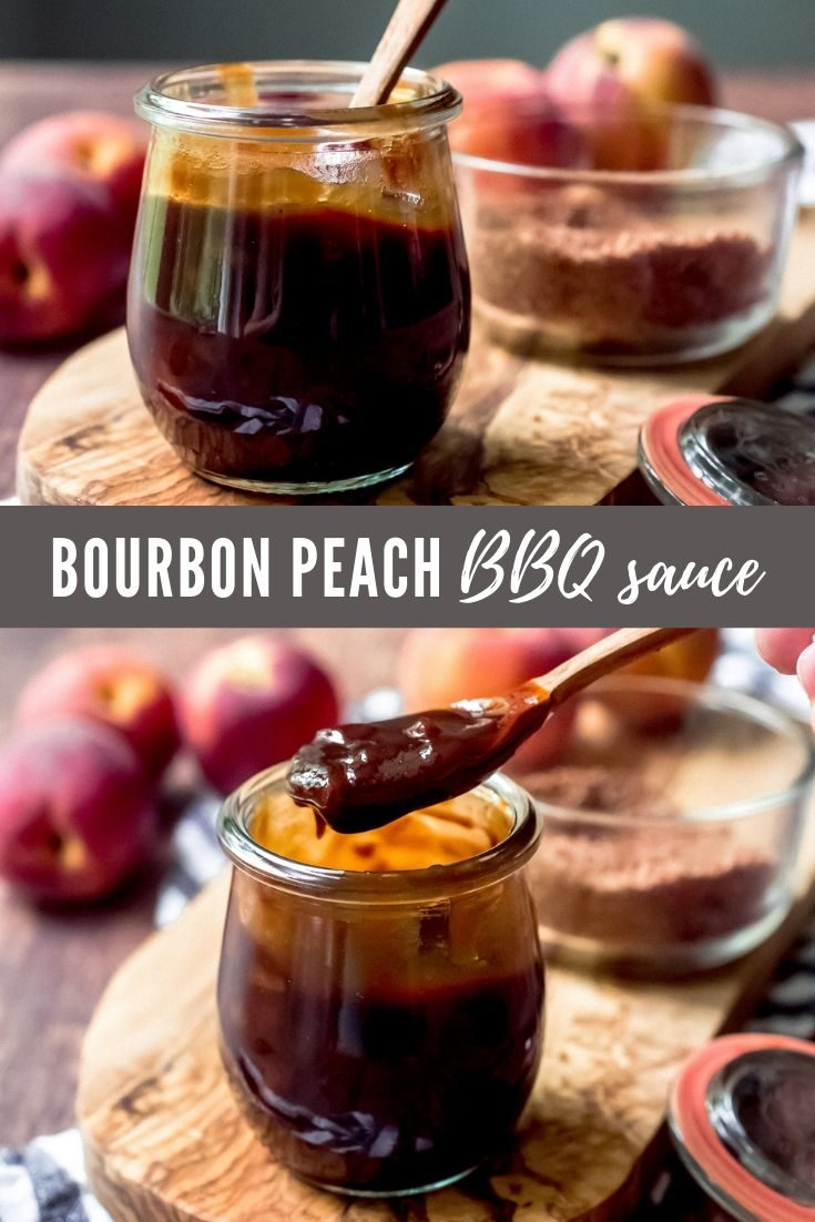 Bourbon Peach BBQ Sauce: A sweet, tangy, and smoky homemade BBQ sauce made with fresh peaches that you'll want to slather on absolutely everything this summer! #bourbonpeach #bbqsauce #homemade #diy #pulledpork #chicken #barbecue #bbq #summer #entertaining #grill #recipe