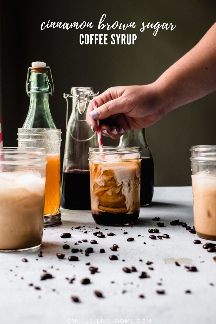 Cinnamon brown sugar coffee syrup is the perfect homemade syrup for mixing into iced and hot coffee, cold brew, espresso, or iced and hot lattes. It's a 3 ingredient sweetener that will keep for a few weeks in the fridge! #coffeesyrup #coffeesweetener #cinnamonbrownsugar #cinnamondolce #starbucks #copycat #recipe #cinnamonroll #cinnamonbun #coldbrew #icecoffee #homemade #sweetener #liquid #simplesyrup