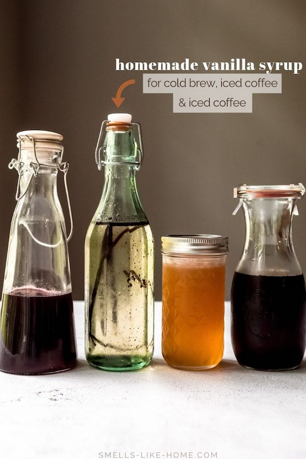 Homemade vanilla syrup is the perfect sweetener for cold brew, iced coffee, and iced lattes and it's EXACTLY like the Starbucks vanilla syrup you're overpaying for. Make it at home in 10 minutes and with 3 ingredients! #vanillasyrup #coffeesyrup #homemadevanillasyrup #vanillabean #coldbrew