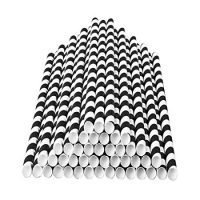 Striped Paper Straws - Black White - 7.75 Inches - Pack of 100