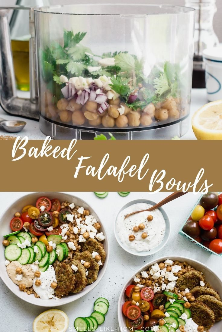 Baked falafel (chickpea patties), cukes, tomatoes, feta, hummus, and tzatziki sauce piled high on top of a bed of nutty, chewy farro, this weeknight meal will be on your table in under 30 minutes! #falafel #bakedfalafel #farrobowl #weeknightmeal #grainbowl