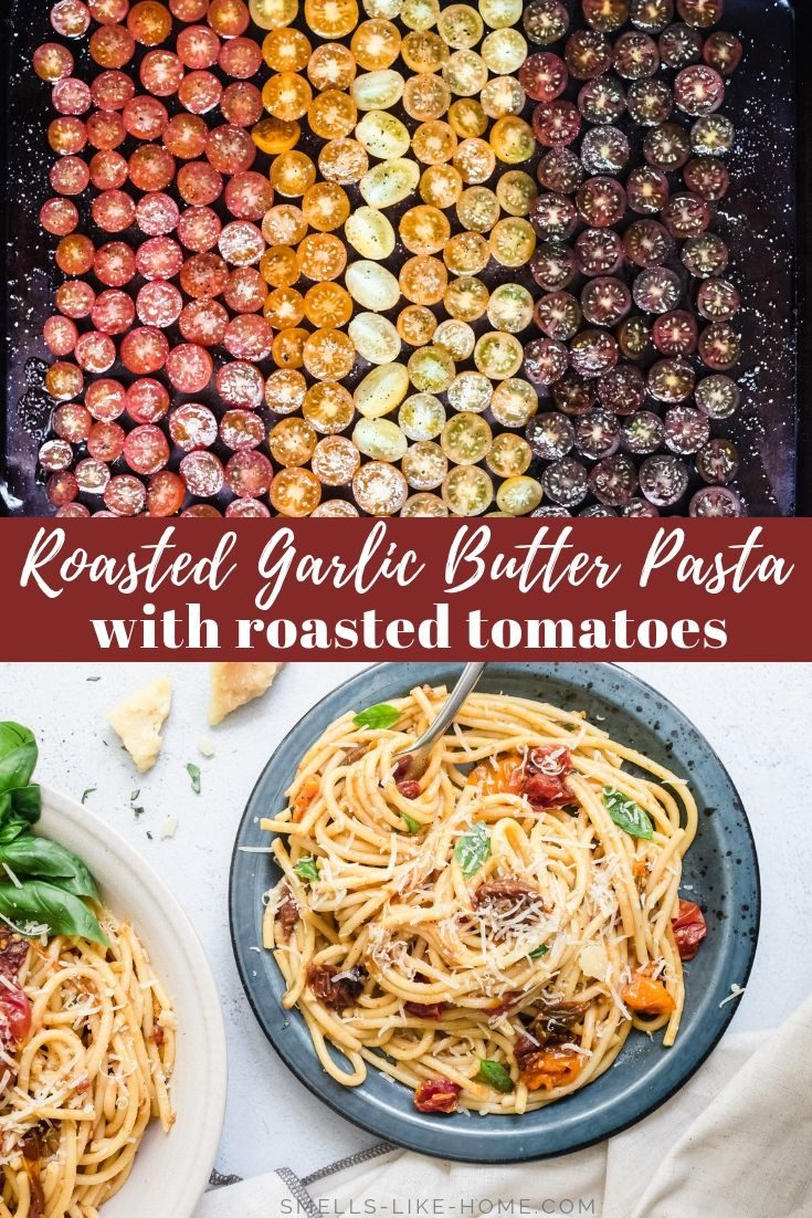 Roasted Garlic Butter Pasta with Roasted Tomatoes: This is the ultimate comfort food. Deeply caramelized roasted garlic and tomatoes combine to make a butter pasta sauce that will leave you utterly speechless! #roastedgarlicbutter #garlicbutterpasta #pastawithroastedtomatoes #comfortfood #pasta