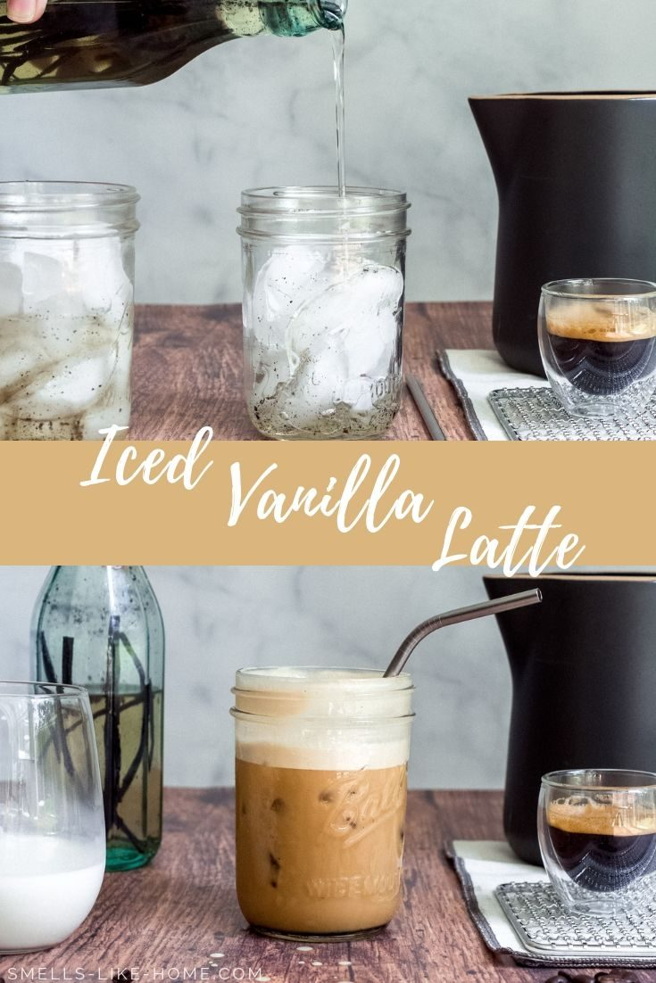 Iced Vanilla Latte: Make your own iced vanilla lattes for around $2 and stop overpaying for your favorite pricey coffee shop drinks. #icedvanillalatte #starbuckscopycat #starbucksicedlatte #vanillalatte #summerdrinks
