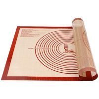 Non-slip Silicone Pastry Mat Extra Large with Measurements 28''By 20'' for Silicone Baking Mat, Counter Mat, Dough Rolling Mat,Oven Liner,Fondant/Pie Crust Mat By Folksy Super Kitchen (2028, red)