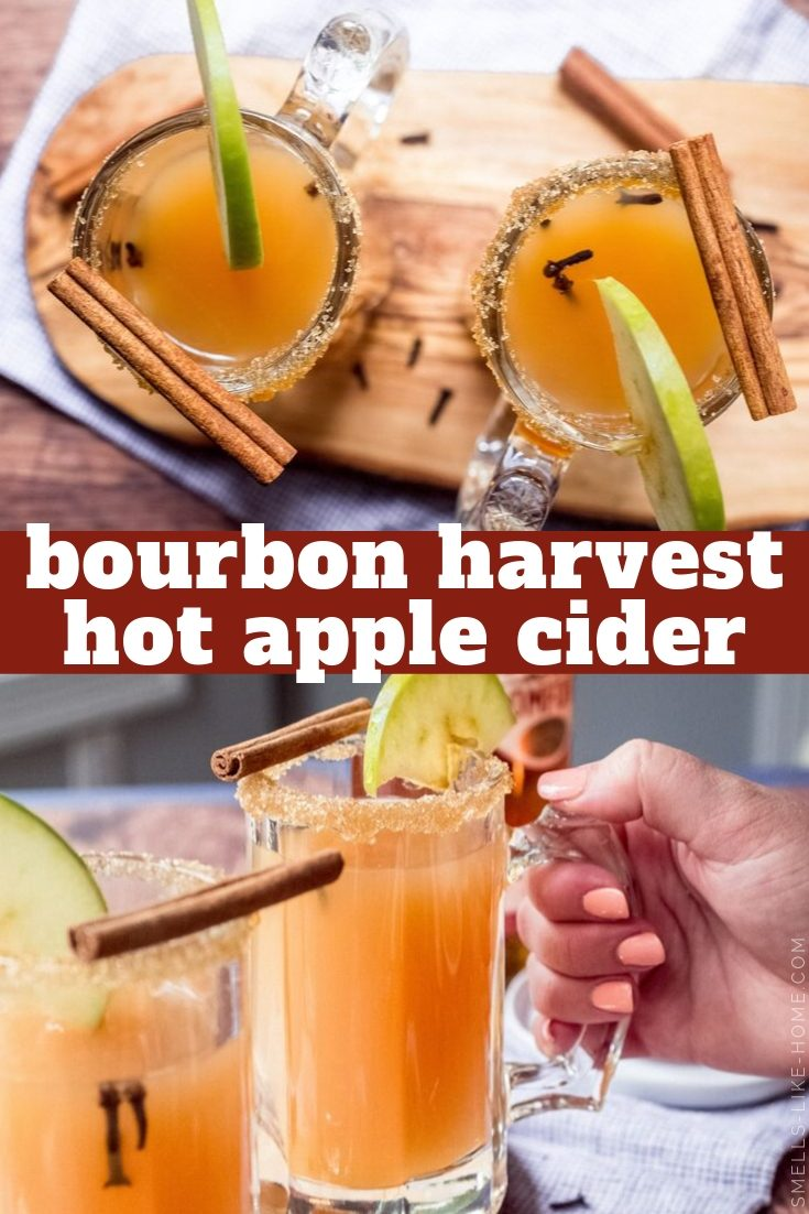 Bourbon Harvest Apple Cider: A warm and cozy fall cocktail for all of your favorite fall activities! Serve it in a crock pot for a party or bring it with you in a thermos or travel mug when you're on-the-go! #bourbon #applecider #hotappleciderrecipe #spikedapplecider #fallcocktail