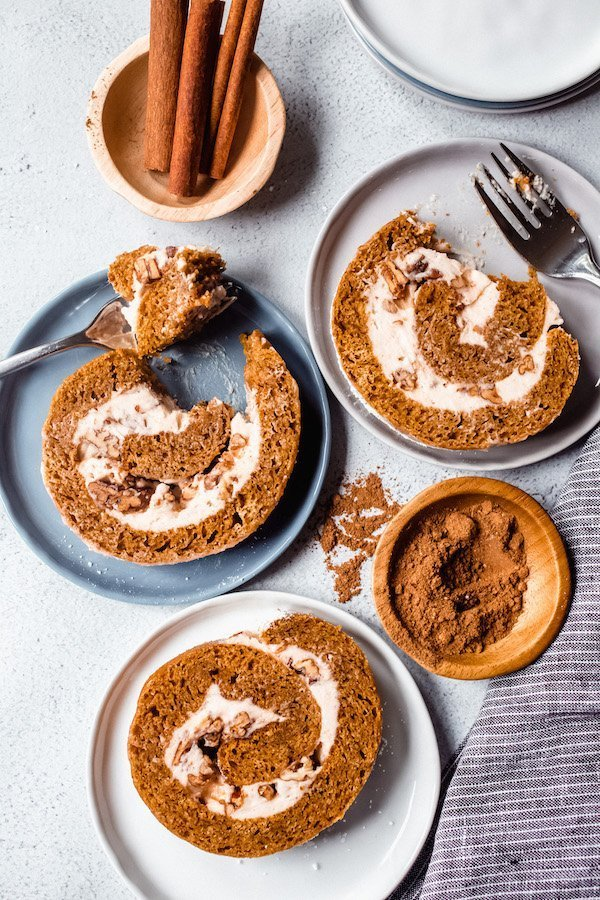 Pumpkin Roll with Candied Pecans