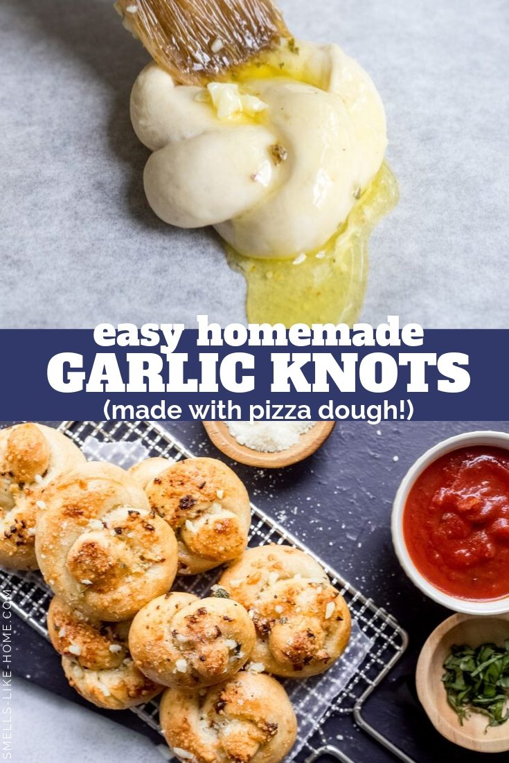 Garlic Knots: These are the best homemade garlic knots! They are pieces of pizza dough tied in knots, brushed with garlic butter, and baked off. Out of the oven, they're doused again with garlic butter and served hot and delicious alongside your favorite Italian meal. #garlicknots #garlicparmesan #garlicbutter #italian #comfortfood