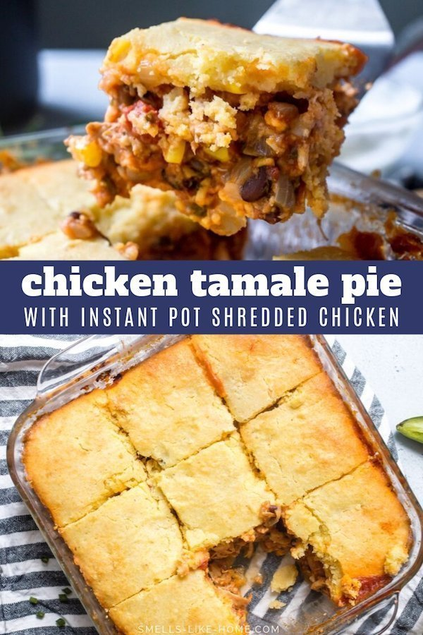 Tamale Pie with Chicken: A hearty Tex-Mex casserole of flavorful chicken, beans, corn, and tomatoes topped with an incredile cornbread that bakes right on top of the casserole. Perfect for cozy weekend dinners and can be doubled for large crowds, like for a potluck or football party. #tamalepie #tamale #cornbread #casserole #potluck
