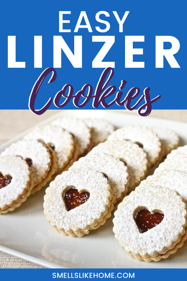 Pinnable image of Linzer cookies filled with raspberry jam.