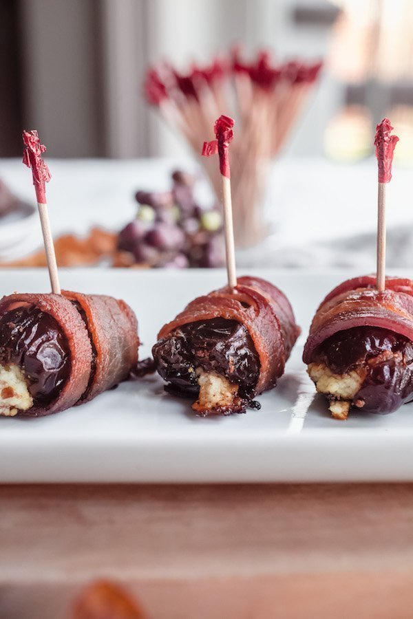 Bacon Wrapped Dates with Cranberry Stilton