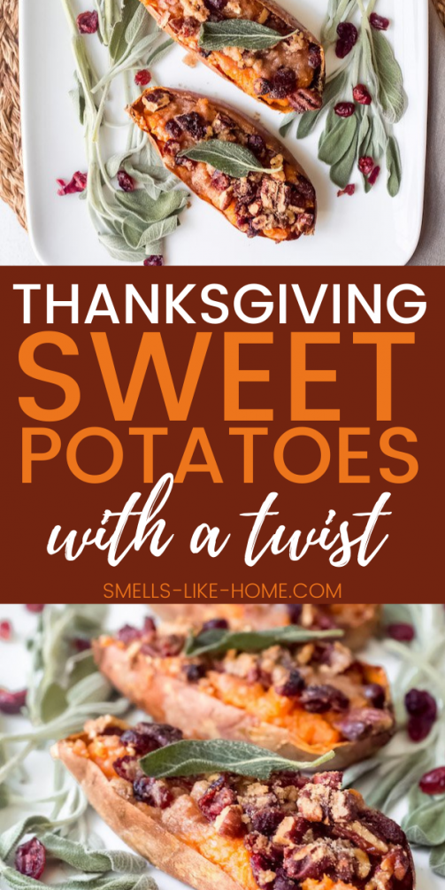 Pinnable image of Thanksgiving sweet potatoes with cranberry streusel.