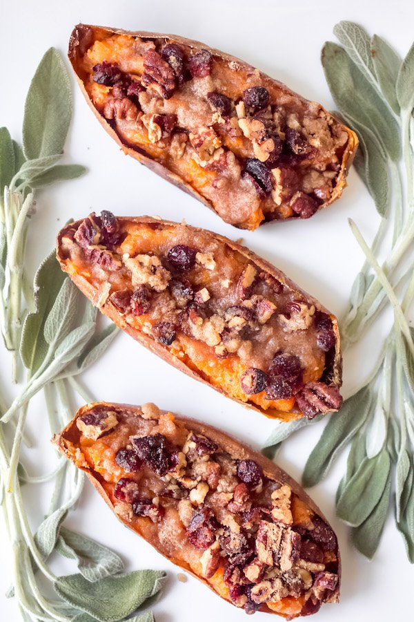 Twice Baked Sweet Potatoes with Cranberry Pecan Streusel