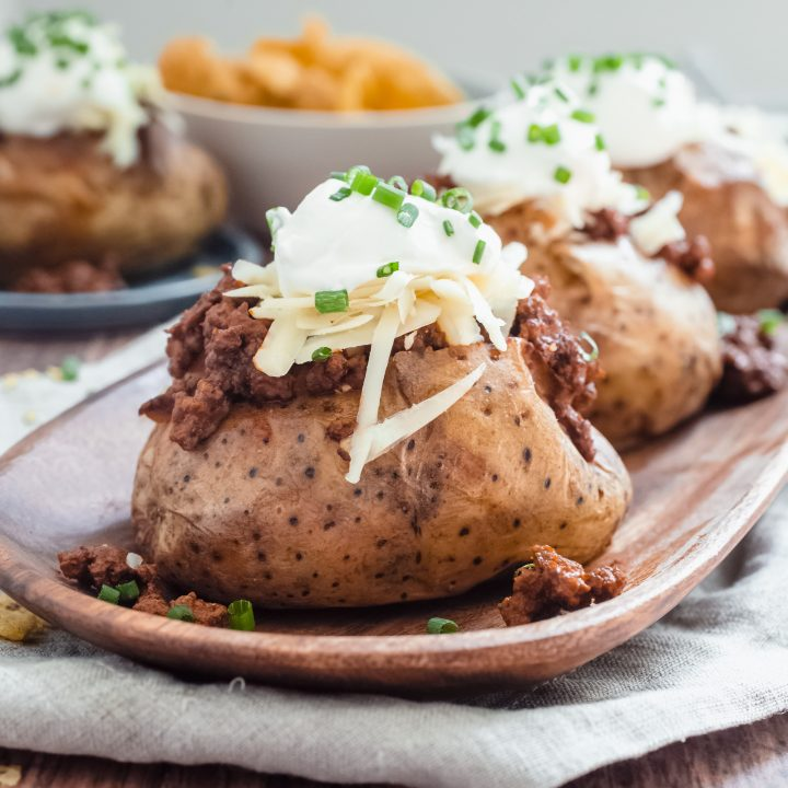 Beef Taco Loaded Baked Potatoes