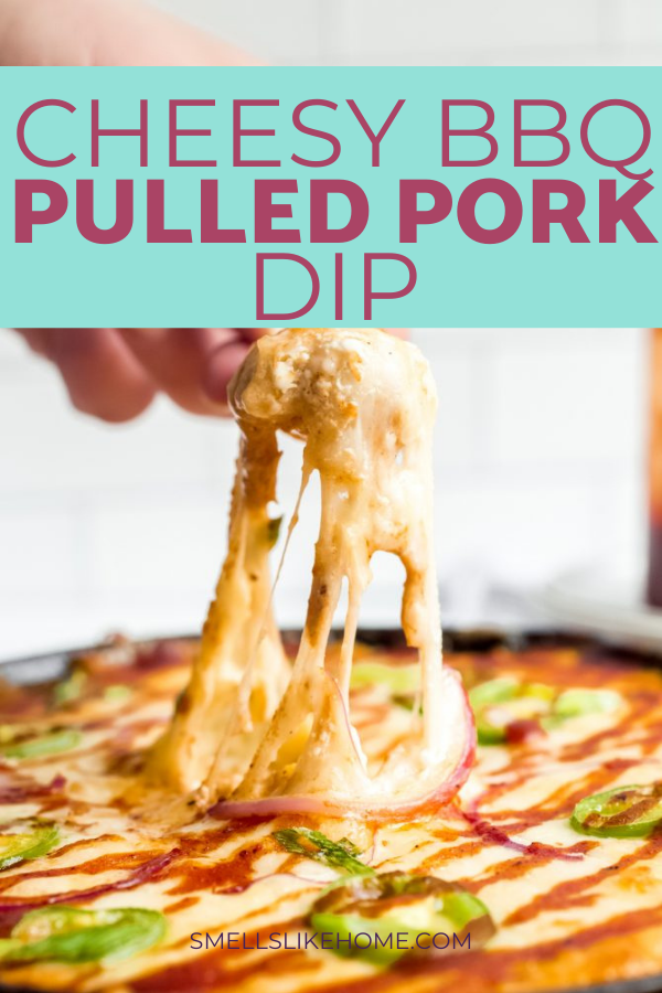 Pinnable image of barbecue pulled pork dip. The image shows a hand scooping the dip with a Frito and a delicious cheese pull from the dip.