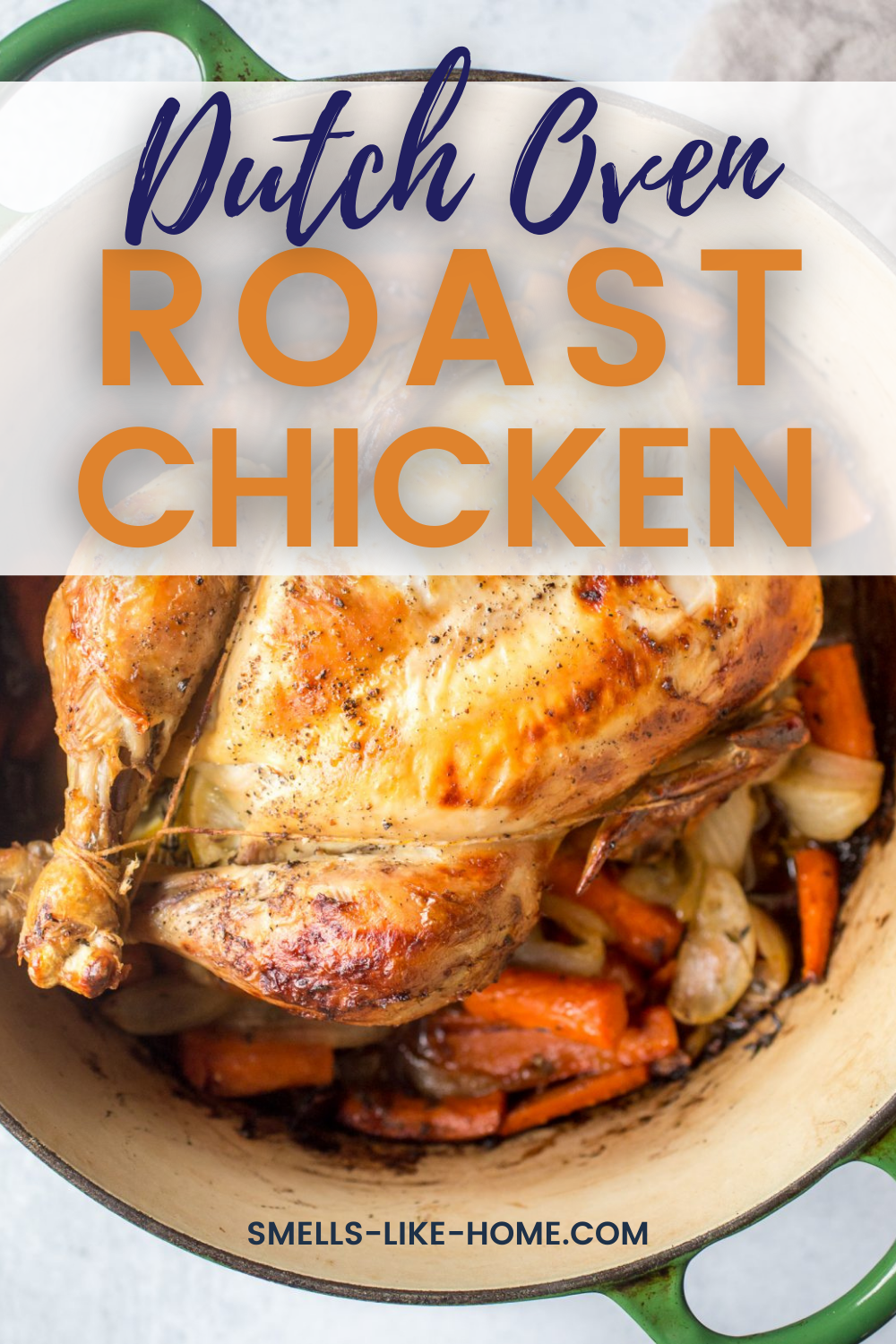 Pinnable image of Dutch Oven Roast Chicken