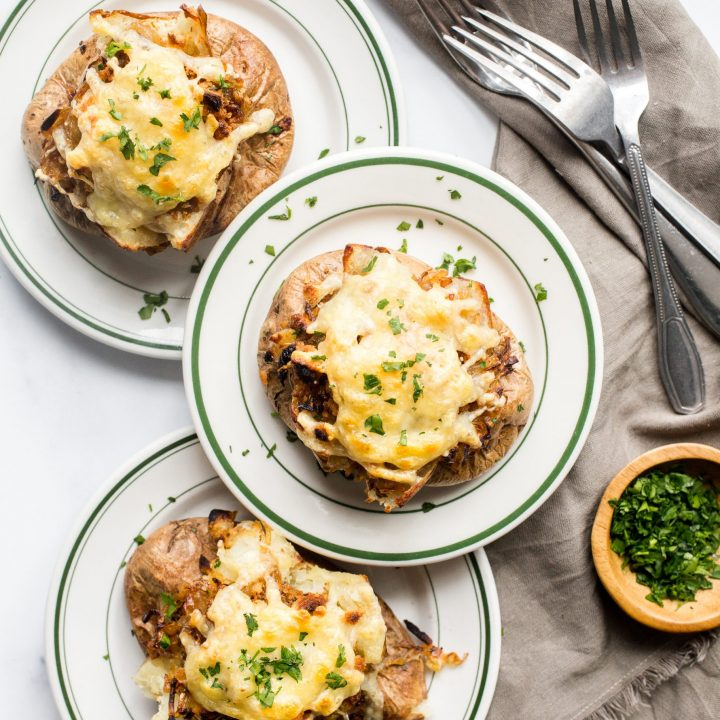 French Onion Soup Loaded Baked Potatoes