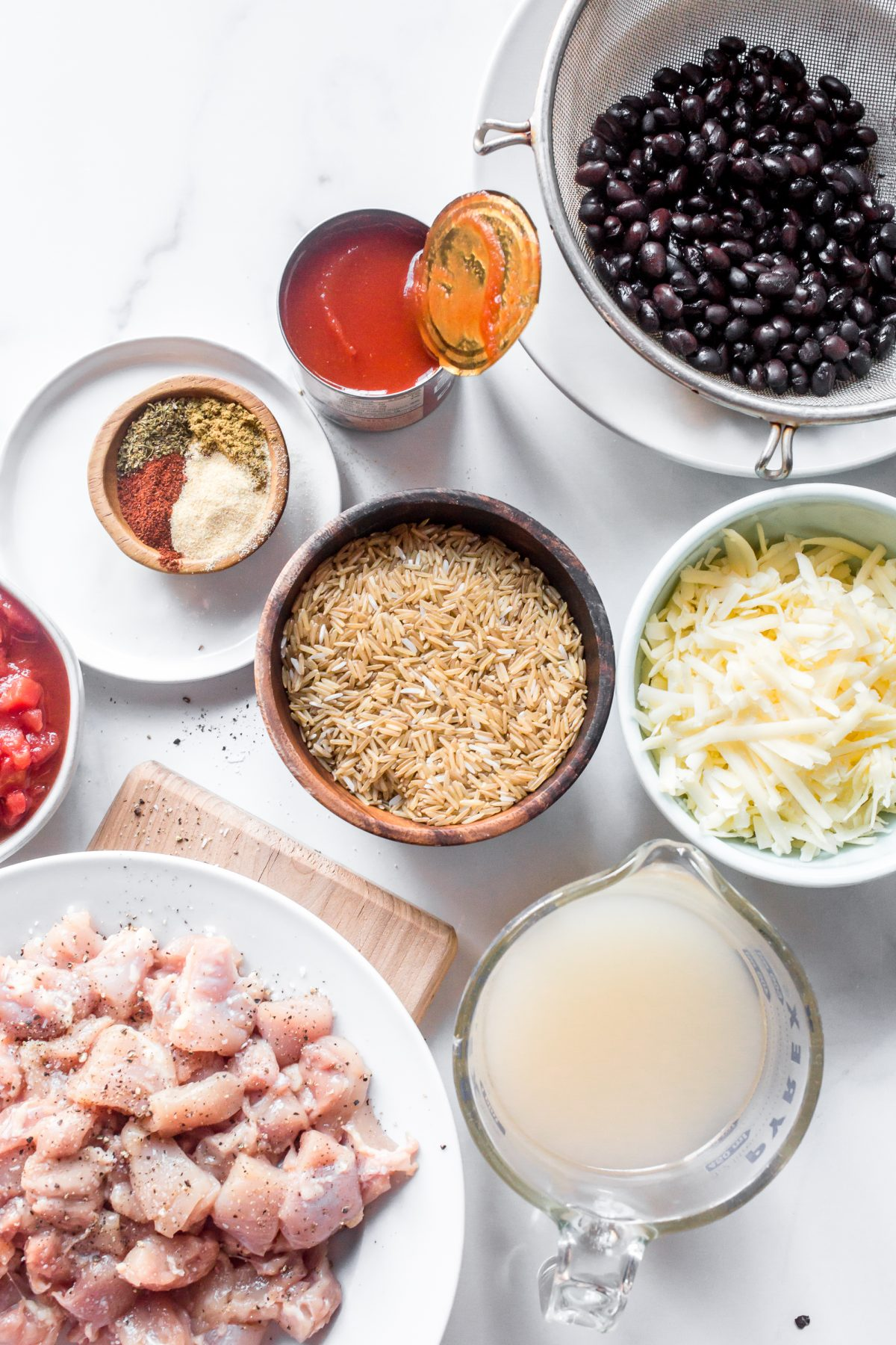 Overhead photo of all of the ingredients needed for One Pan Mexican Chicken and Rice.